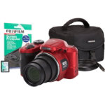 Fuji Finepix S8650 bridge camera with case 4GB SD card HDMI lead and screen protector red