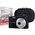 Sony DSC W800 compact digital camera with SD card and hard case black