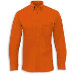 Men s Easycare long sleeved shirt terracota 185 inch neck
