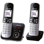 Panasonic KX TG6822EB twin dect cordless telephone set with answer machine silver black