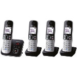 Panasonic KX TG6824EB quad dect cordless telephone set with answer machine silver black