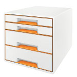 Leitz WOW 4 Drawer Cube Desk Cabinet Orange Metallic