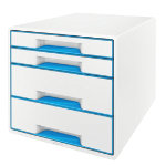 Leitz WOW 4 Drawer Cube Desk Cabinet Blue Metallic