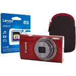 Canon IXUS 160 Digital Camera kit with 8GB SDHC class 10 memory card case red