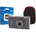 Canon IXUS 160 Digital Camera kit with 8GB SDHC class 10 memory card case silver