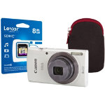 Canon IXUS 160 Digital Camera kit with 8GB SDHC class 10 memory card case white