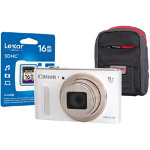 Canon Powershot SX610 HS Digital Camera kit with 16GB SDHC class 10 memory card case white