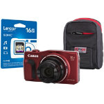 Canon Powershot SX710 HS Digital Camera kit with 16GB SDHC class 10 memory card case red