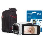 Canon Lergia HF R606 Digital Camera kit with 16GB SDHC case 10 memory card case white
