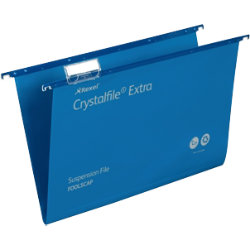 Rexel Crystalfiles Extra Suspension Files Polypropylene 15mm Capacity Foolscap Blue Box 25
