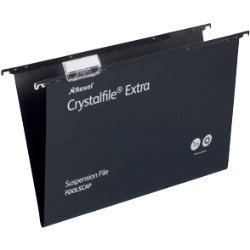 Rexel Crystalfiles Extra Suspension Files Polypropylene 15mm Capacity Foolscap Black Box 25