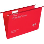 Rexel Crystalfiles Extra Suspension Files Polypropylene 15mm Capacity Foolscap Red Box 25