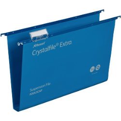 Rexel Crystalfiles Extra Suspension Files Polypropylene 30mm Capacity Foolscap Blue Box 25