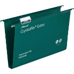 Rexel Crystalfiles Extra Suspension Files Polypropylene 30mm Capacity Foolscap Green Box 25
