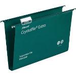 Rexel Crystalfiles Extra Suspension Files Polypropylene 30mm Capacity Foolscap Green Box 25