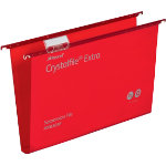 Rexel Crystalfiles Extra Suspension Files Polypropylene 30mm Capacity Foolscap Red Box 25