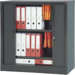 Realspace Pro Tambour Cupboard Black 1000H x 1000W x 450Dmm