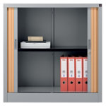 Realspace Pro Tambour Cupboards Silver Beech 1000H x 100W x 450Dmm