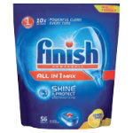 Finish All in One Max Shine and Protect dishwasher tablets lemon pack 56
