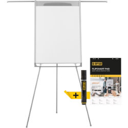 BiOffice Flipchart Easel Mastervision Tripod Dark Grey 195 x 106 cm