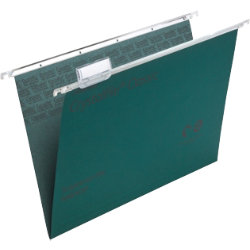 Rexel Crystalfile Classic Suspension Files Manilla V Base 15mm Capacity Foolscap Green Box 50