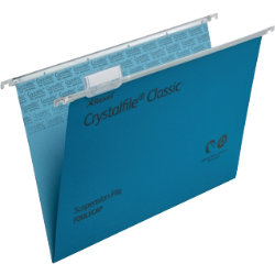 Rexel Crystalfile Classic Suspension Files Manilla V Base 15mm Capacity Foolscap Blue Box 50