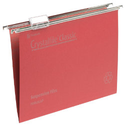 Rexel Crystalfile Classic Suspension Files Manilla V Base 15mm Capacity Foolscap Red Box 50
