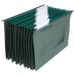 Rexel Crystalfile Classic Linked Suspension Files Manilla V Base 15mm Capacity Foolscap Green Box 50