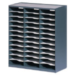 Fastpaper 36 Compartment Literature Organiser Grey