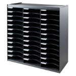 Fastpaper 36 Compartment Literature Organiser Black