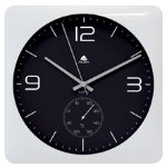 Alba Quartz Wall Clock and Thermometer HORDUOBC Black and White