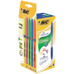 12 pack Bic Atlantis Retractable Ballpoint Pens Blue  5 Assorted Bic Grip Highlighters
