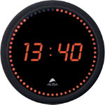 Alba LED Wall Clock HORLED Black and Red