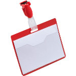 Durable Visitor Name Badges 60 x 90mm Red