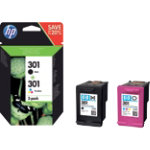 HP 301 Original Ink Cartridge N9J72AE Black 3 Colours Pack 2