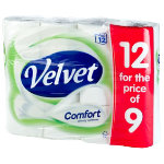 Velvet Toilet Roll 2 ply Pack 12