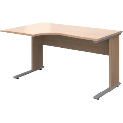 Dams international left hand desk ub1380lb beech 732 x 1380 x 680 mm by viking - Viking office desk ...