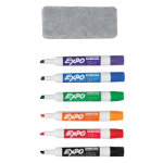 Sharpie Expo Whiteboard Organiser with 6 Assorted Colour Markers 1X Soft Pile Eraser