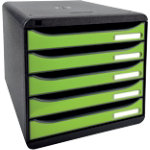 Exacompta Drawer Unit Big Box Polystyrene Black Green 278 x 347 x 271 mm