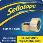 Sellotape Vinyl packaging tape clear 50mm x 66m