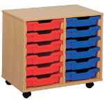 6 Tray Storage Unit MSU1 6 BL Beech Blue 650 x 370 x 495 mm