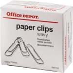 Office Depot Paper Clips Giant Wavy 75mm 100 Per Box