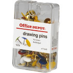 Office Depot Drawing Pins Assorted Colours 100 bx