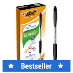 Bic Atlantis Retractable Easy Glide Ballpoint Pen Black Pack of 12