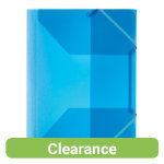 Office Depot 3 Flap Elasticated Folders Pack of 5 Transparent Blue