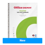Office Depot Wirebound Notebook White Green Ruled micro perforated A4