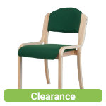 Beech Effect Melamine Frame Stacking Chair Fabric Green