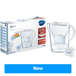 BRITA Marella Jug with 12 Cartridges 1026229 Transparent White