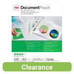 Acco Laminating Pouches 250 2 x 125 Micron A2 Clear Gloss Pack of 100