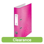 Leitz Wow 180 Lever Arch File A4 52mm Pink